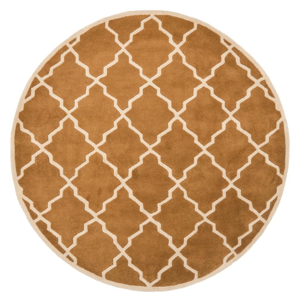 7' Quatrefoil Design Tufted Round Area Rug Brown - Safavieh