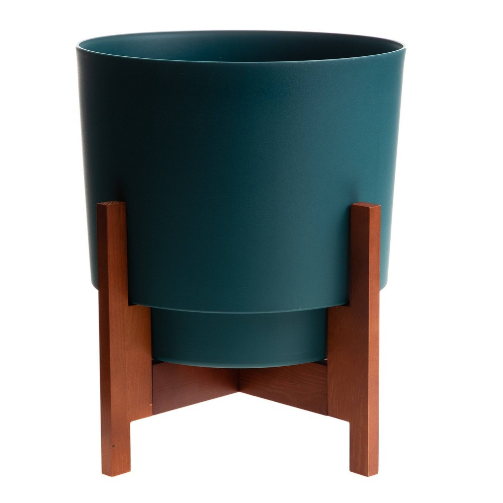 Hopson Planter With 10 34 Wood Stand Green Bloem