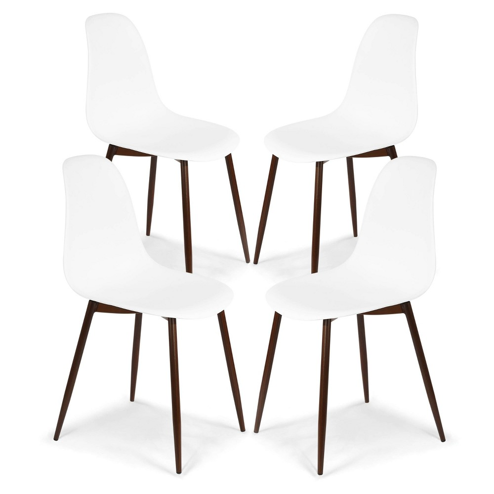 Set of 4 Virginia Sculpted Dining Chair White/Walnut - Poly & Bark Discounts