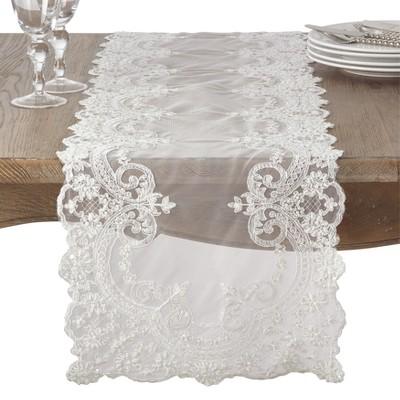 Table Runner White Saro Lifestyle