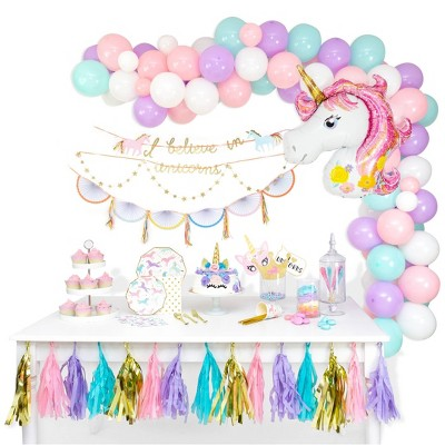 104pc Unicorn Mermaid  Balloon Garland Arch Complete Kit Pastel