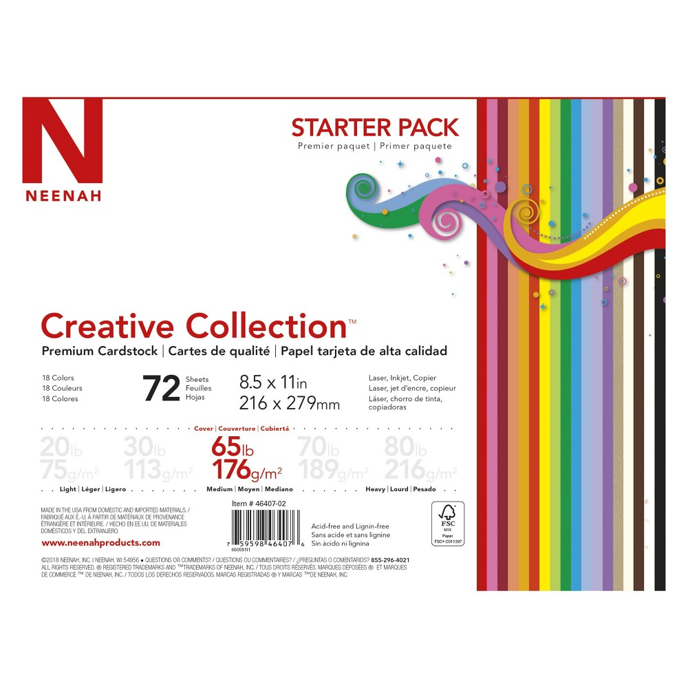 "Image of ""Neenah Creative Collection Specialty Cardstock Starter Kit, 8.5"""" x 11"""", 65lb, 18-Color Assortment, 72 Sheets"""