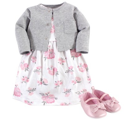 Hudson Baby Infant Girl Cotton Dress, Cardigan and Shoe 3pc Set, Pink Gray Floral