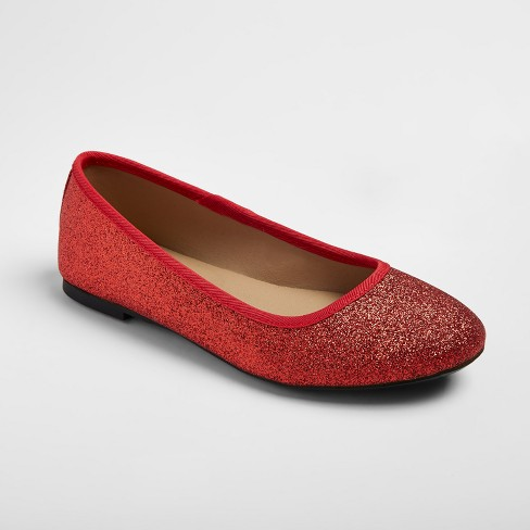 f83dbf61fb58 Girls  Buffy Glitter Ballet Flats - Red 1   Target