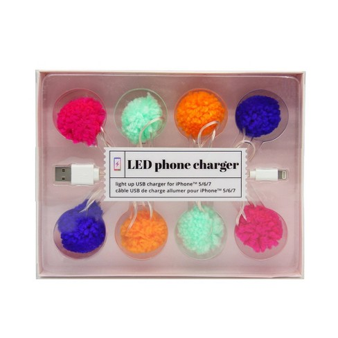 """46"""" LED Pom Pom Phone Charger USB Cable - image 1 of 2"""