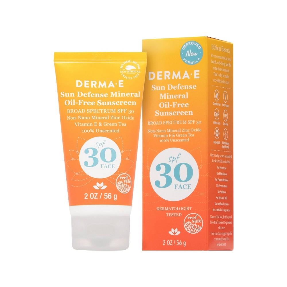 Derma E Sun Defense Mineral Oil Free Face Sunscreen Spf 30 2oz