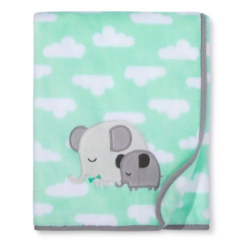 Plush Appliqued Blanket Elephants - Cloud Island™ - Mint   Target 6b186fc05