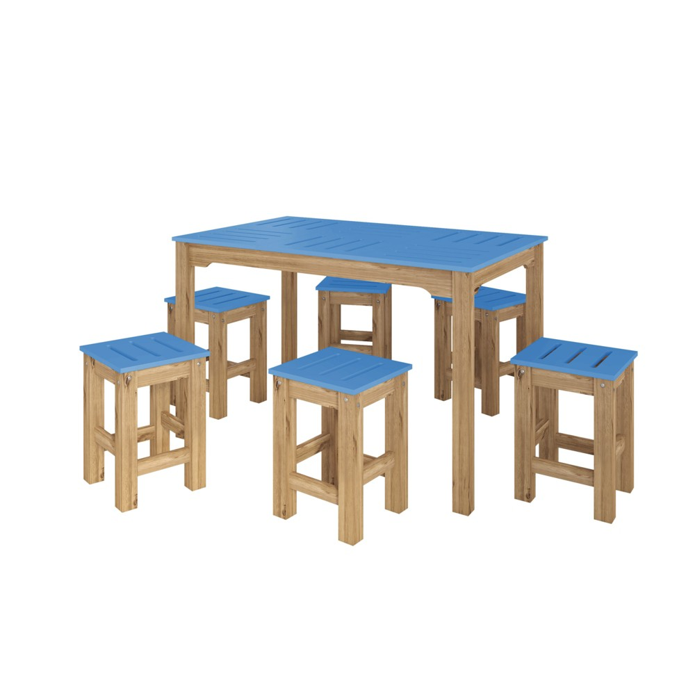 47.25 7pc Stillwell Natural Wood Rectangle Dining Set Blue - Manhattan Comfort