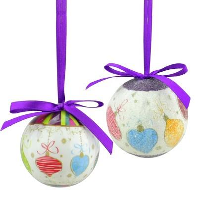 "Northlight 10ct Decoupage Shatterproof Christmas Ball Ornament Set 1.75"" - Purple/White"