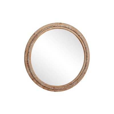 36 Large Round Wood Wall Mirror with Decorative Wood Beads Natural - Olivia & May
