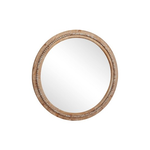 36 Large Round Wood Wall Mirror With, Natural Carved Wood Round Mirror