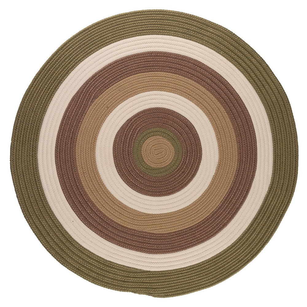 Image of 10' Round Mountain Top Braided Area Rug Green - Colonial Mills