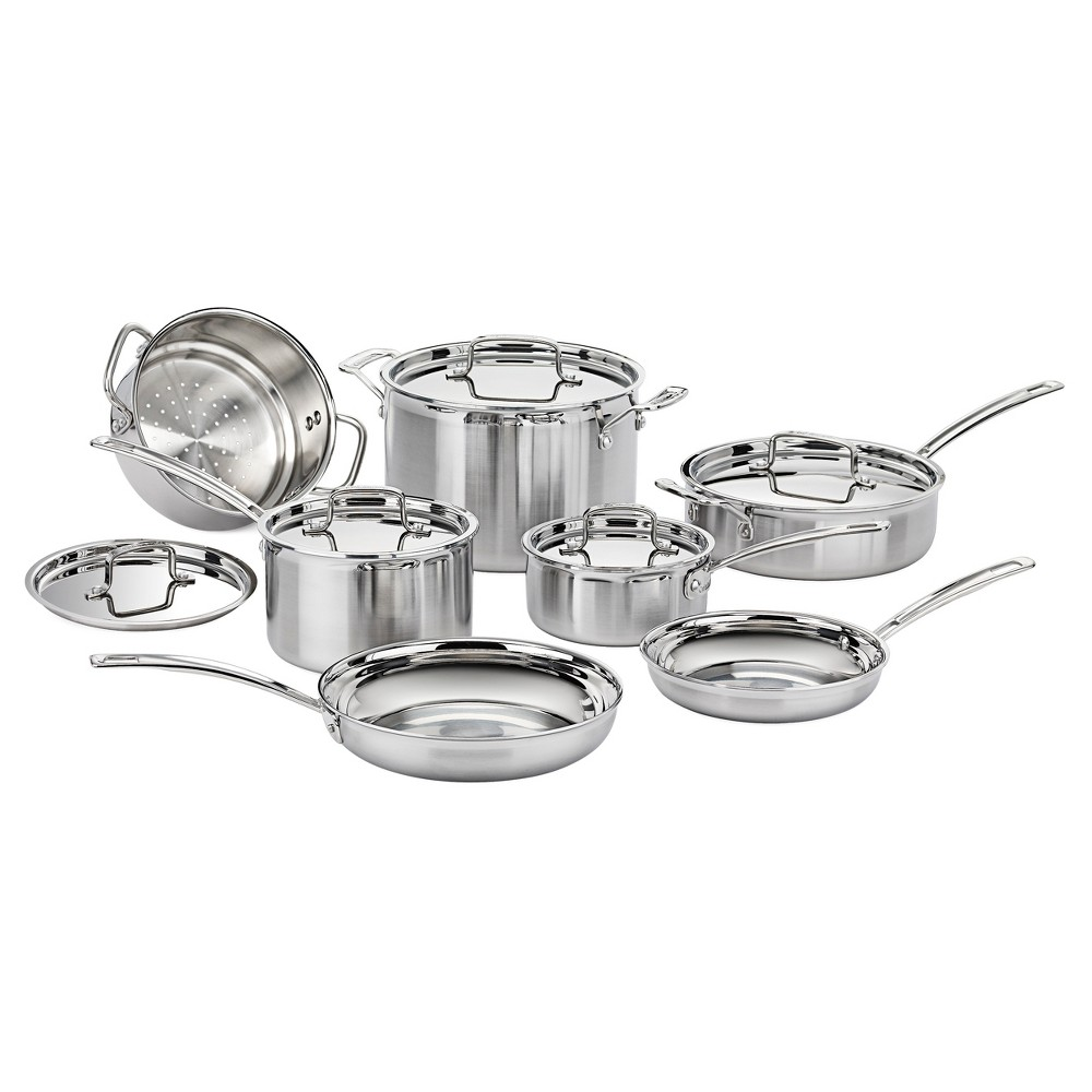 Cuisinart Multiclad Pro Triple Ply Stainless Steel 12 Piece Cookware Set - Mcp-12N, Silver
