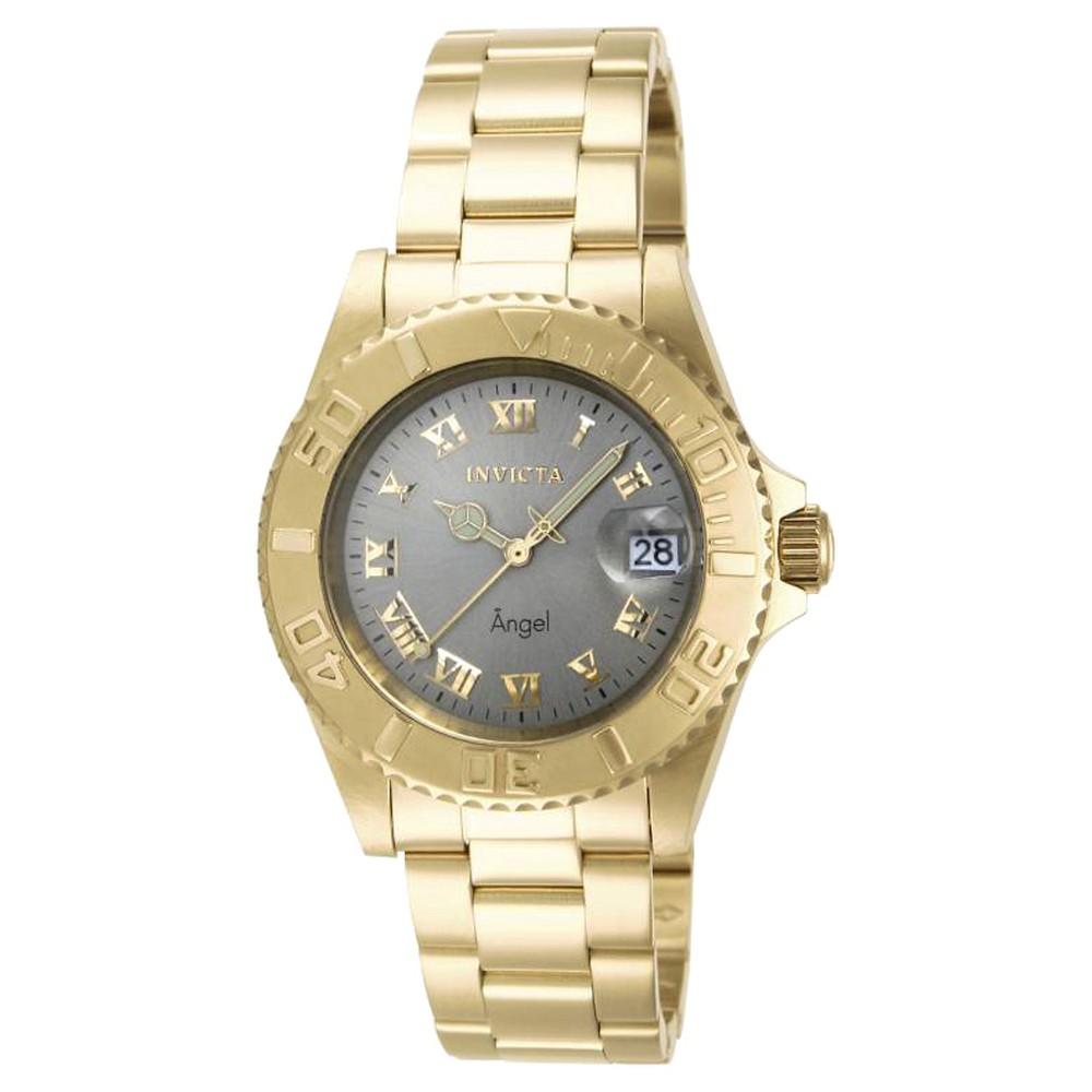 Women's Invicta 14366 Angel Quartz 3 Hand Light Gray Dial Link Watch - Gray