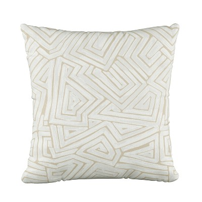 Geo Print Square Throw Pillow Cream/White - Skyline Furniture
