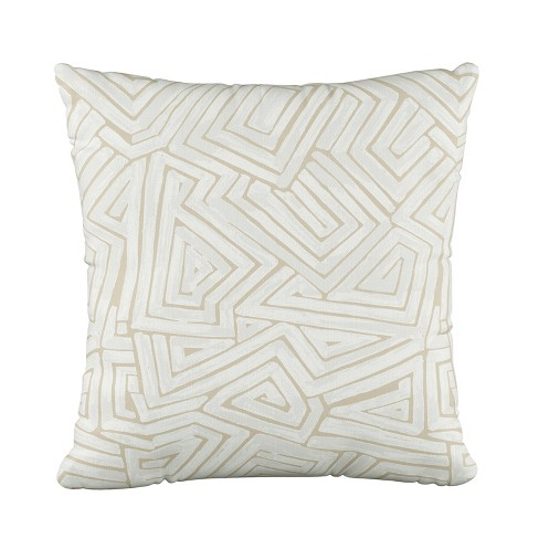 Geo Print Square Throw Pillow Cream White Skyline Furniture