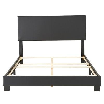 Faux Leather Langley Upholstered Platform Bed Frame King Black-Eco Dream