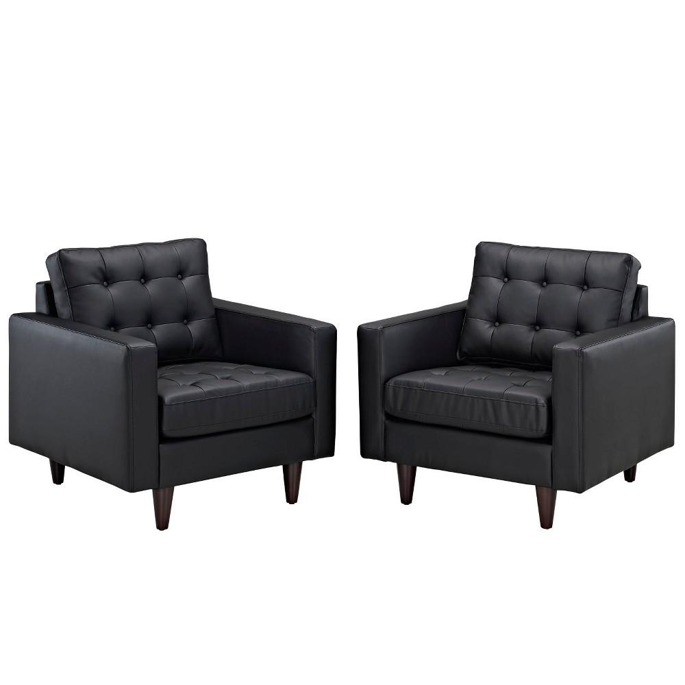 Empress Armchair Leather Set of 2 Black - Modway