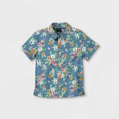 Toddler Boys' Tropical Floral Button-Down Shirt - art class™ Dark Blue