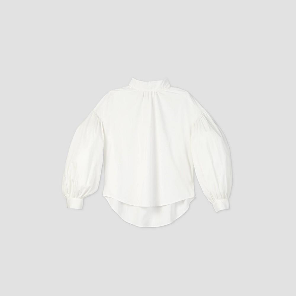 Victorian Blouses, Tops, Shirts, Sweaters Womens Drop Shoulder Balloon Long Sleeve Poplin Blouse - Prologue White XXL $27.99 AT vintagedancer.com
