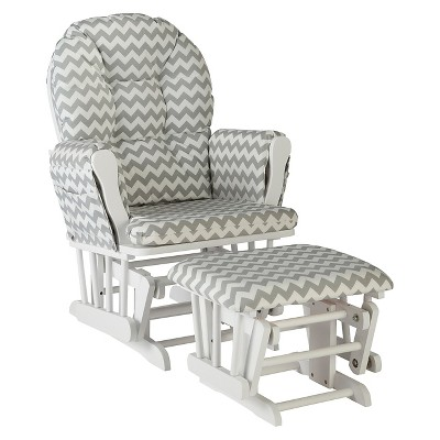 Stork Craft Hoop White Glider and Ottoman - Gray Chevron