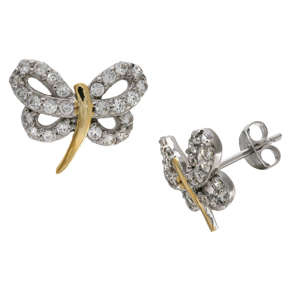 Target Women's Two Tone Dragonfly Stud Earrings with Clea...