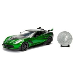 Jada Hollywood Rides Transformers The Last Knight Crosshairs - 2016 Chevy Corvette StingRay Die-Cast Vehicle with Die-Cast Coin - 1:24 Scale Green