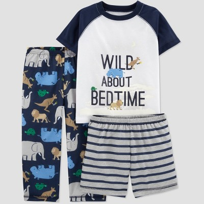 Baby Boys' 3pc Poly Wild About Bedtime Pajama Set - Just One You® made by carter's Navy/Gray/White 18M