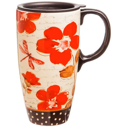 Evergreen Flag Floral Symphony Ceramic Latte Travel Cup w/Gift Box , 17 oz. - image 1 of 1