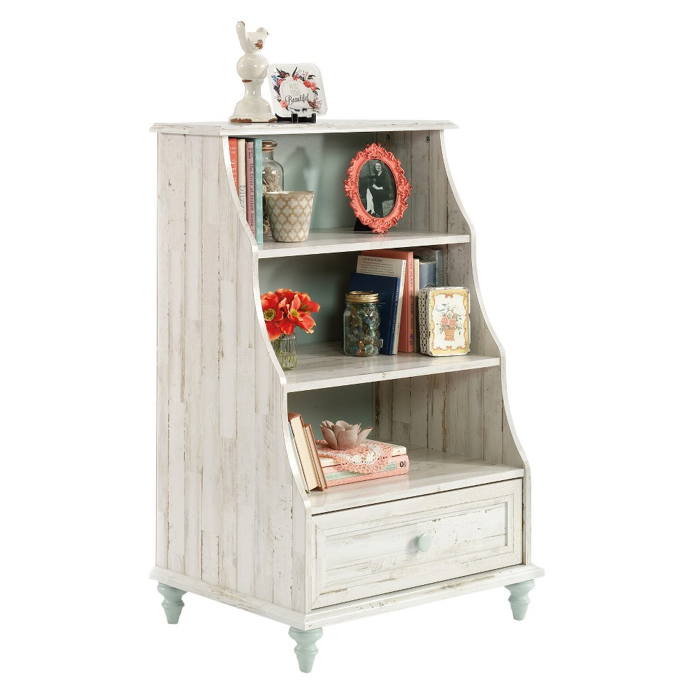 Eden Rue 40.945 Accent Bookcase with Drawer Reversible Back - Rainwater / White Plank - Sauder