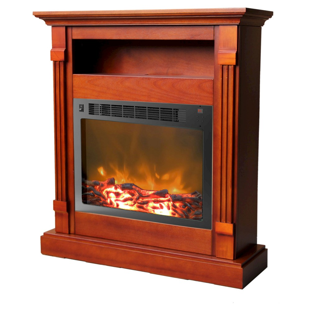 Cambridge CAM3437-1CHR Sienna Fireplace Mantel with Electronic Fireplace Insert, Cherry (Red)