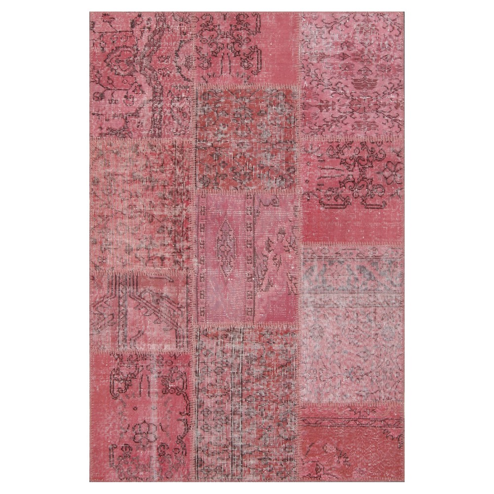 "Image of ""Antique Patchwork Accent Rug Rose 3'11""""x5'11"""", Pale Pink"""