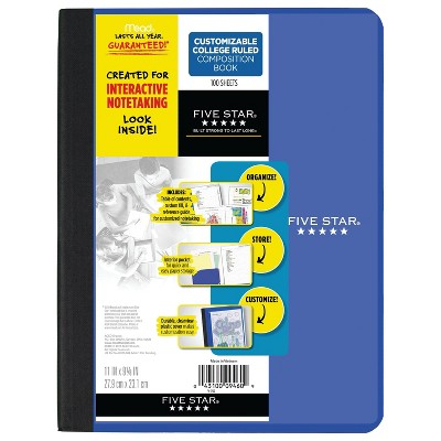 Five Star College Ruled Customizable Interactive Composition Notebook (Color Will Vary)