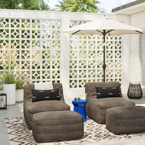 Bowman Sloped Quilted Patio Chair, Patio Chairs With Ottoman