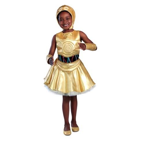 Star Wars Girls  Classic C-3Po Dress Halloween Costume   Target 7f0b1ecf36fc