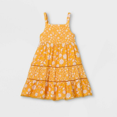 Toddler Girls' Floral Tiered Tank Dress - Cat & Jack™ Gold