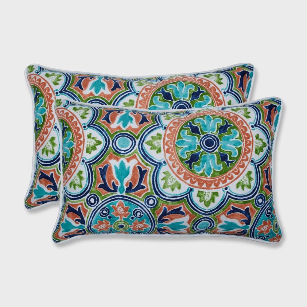2pk Lagoa Tile Flamingo Rectangular Outdoor Throw Pillow Blue - Pillow Perfect