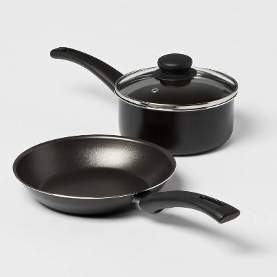3pc Aluminum Nonstick Fry Pan & Saucepan Set - Room Essentials™