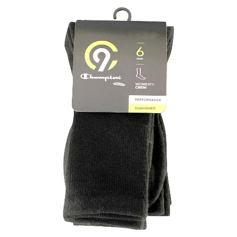 eb5aef15f110 Women s Crew Socks With Cushion 6pk - C9 Champion® Black 5-9   Target