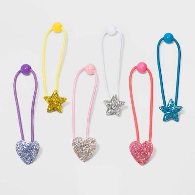 Girls' 6pk Confetti Star Popper Hair Ties - Cat & Jack™