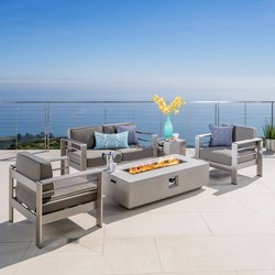 Cape Coral 5pc Aluminum and Light Weight Concrete Seating Set with Fire Table- Christopher Knight Home
