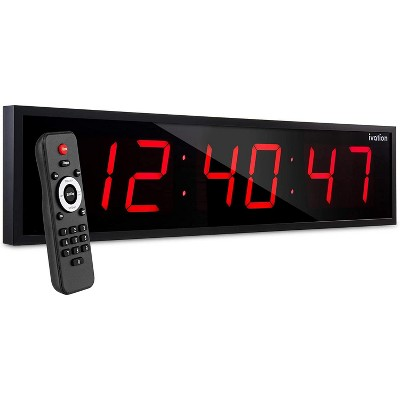 Ivation Huge Large Big Oversized Digital LED Clock with Stopwatch, Alarms, Countdown Timer & Temp - Shelf or Wall Mount   6-Level Brightness, Mounting Holes & Hardware
