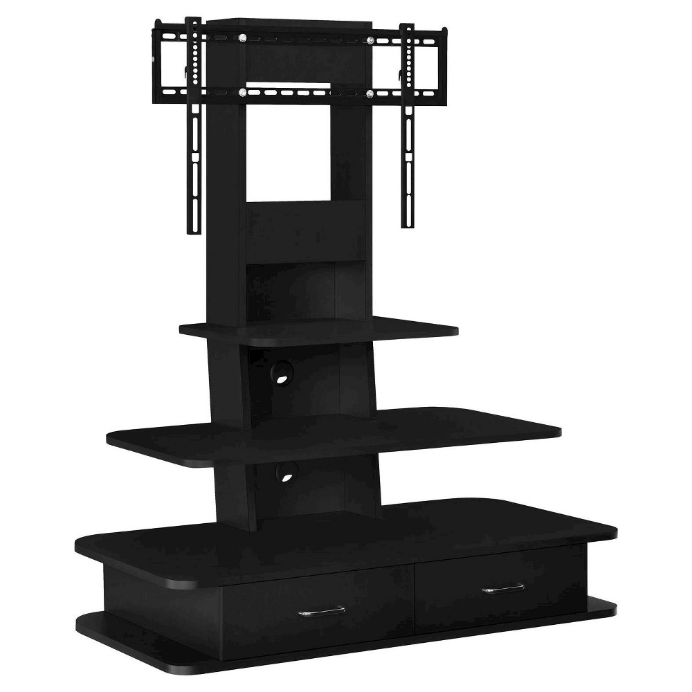 Solar TV Stand with Mount and Drawers for TVs up to 70 Wide - Black - Room & Joy