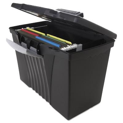 Storex Portable File Storage Box w/Organizer Lid Letter/Legal Black 61510U01C