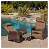 Wicker Set of 2 Patio Recliners - Brown - Christopher Knight Home - image 3 of 4