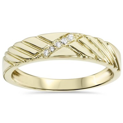 Pompeii3 Mens Diamond Wedding Ring Yellow Gold