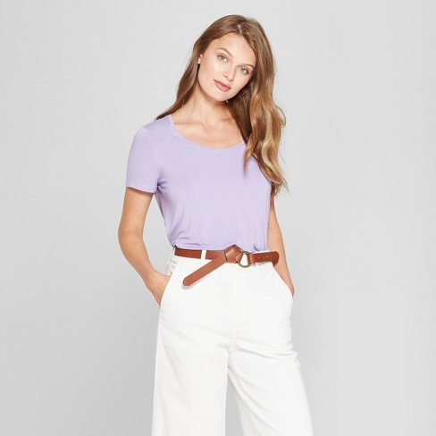 Women's Any Day Short Sleeve Scoop T-Shirt - A New Day™ Lavender L - image 1 of 3