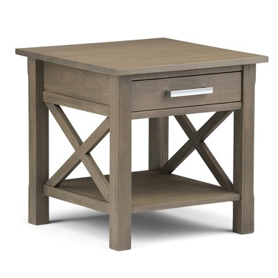 Charming Kitchener End Side Table   Farmhouse Grey   Simpli Home