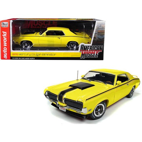 1970 Mercury Cougar Eliminator Yellow w/ Black Stripes Ltd Ed 1002 pcs Worldwide 1/18 Diecast Model by Autoworld - image 1 of 1