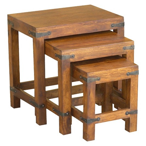 3pc Handcrafted Rustic Nesting Tables Natural Timbergirl